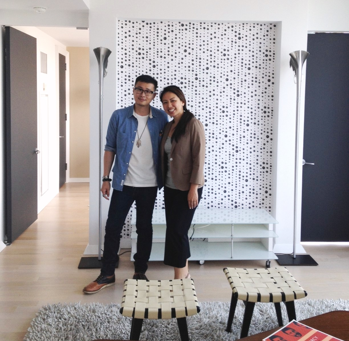 Mandarin Chinese Speaking Agent Eileen Hsu and her buyer in his new condo in Downtown Manhattan New York.