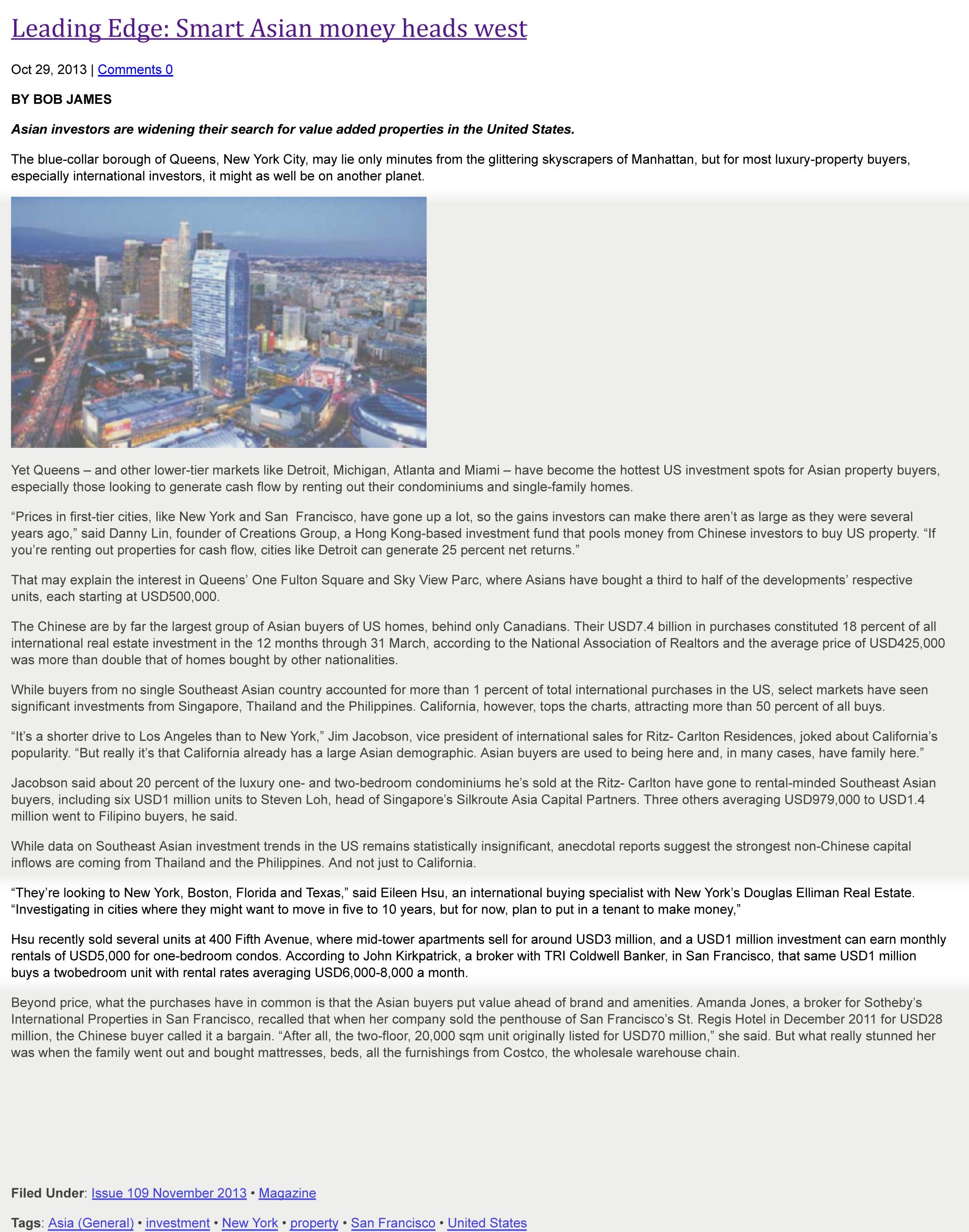Smart Asian money heads west | Property Report | Luxury real est