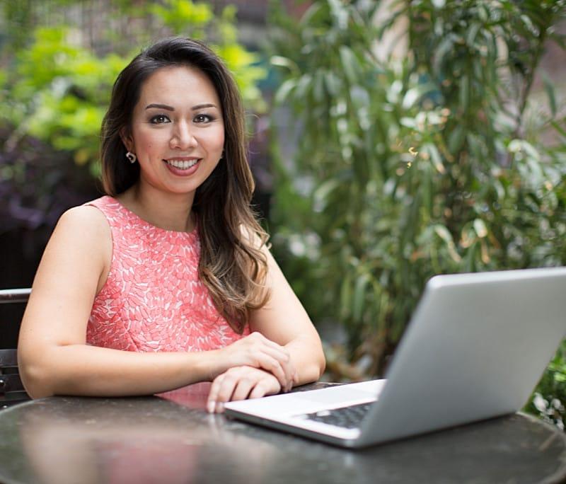 Eileen Hsu at her Laptop
